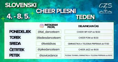 Slovenski cheer plesni teden v času COVID-19
